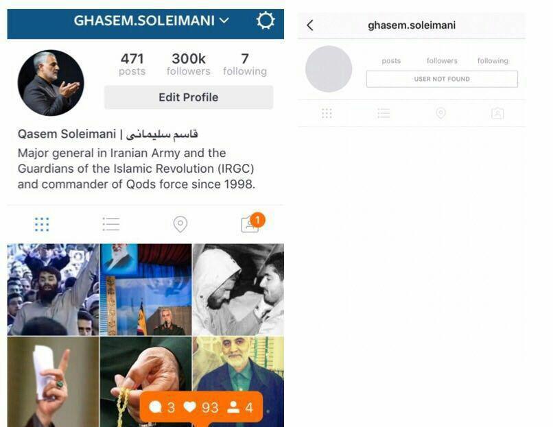 """چرا اینستاگرام از فالوورهای ۳۰۰ هزارنفری """"سردار سلیمانی"""" ترسید؟"""