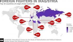 ما هی أبرز 10 دول توجه منها مسلحون الى سوریا والعراق؟