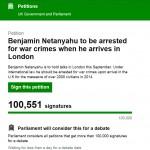Over 100k Sign UK Online Petition Calling for Israeli PM's Arrest